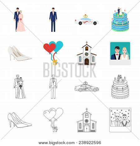Wedding And Attributes Cartoon, Outline Icons In Set Collection For Design.newlyweds And Accessories
