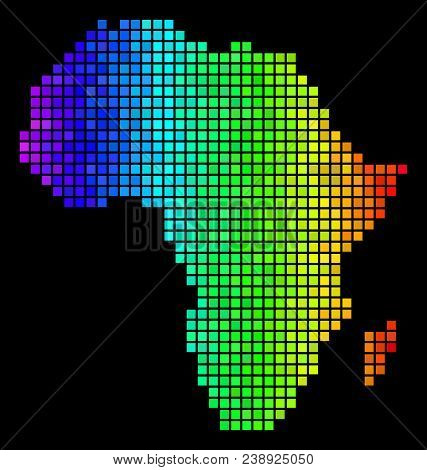 Digital Africa Map. Vector Territory Scheme In Glossy Spectrum Color Tints On A Black Background. Ab