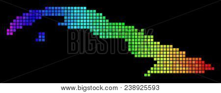 Bright Cuba Map. Vector Territorial Map In Impressive Spectral Color Variations On A Black Backgroun