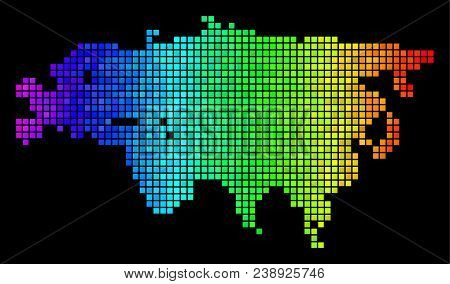 Bright Eurasia Map. Vector Geographic Map In Glossy Spectral Color Shades On A Black Background. Abs