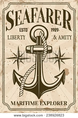 Nautical Poster In Vintage Style With Anchor, Seafarer Headline And Grunge Textures On Separate Laye