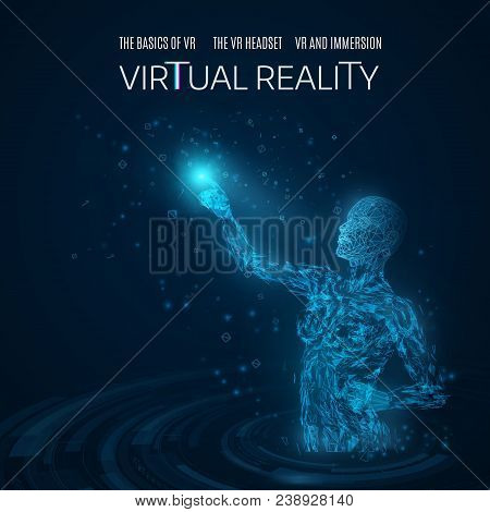 Silhouette Of A Woman Touching A Virtual Object In A Virtual Space. Learning Virtual Reality. Touchi