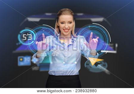 business, future technology and cyberspace concept - businesswoman with gps navigator map on virtual screen over dark background poster
