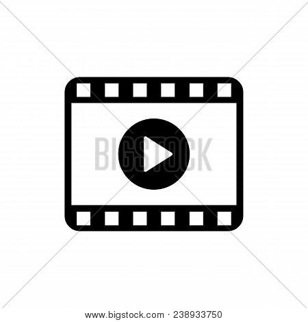 Play Video Icon In Flat Style. Movie Icon. Video Player Symbol Isolated On White Background. Simple