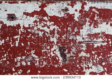 Red And White Distressed Wooden Painted Texture. Painted Texture In Obsolete Paint. Grungy Shabby Su