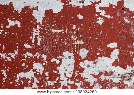 Distressed Painted Wall Texture With Red Paint Stains And White Background. Painted Texture In Obsol