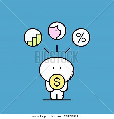 Cute Funny Man With Dollar Coin, Diagram, Piggy Bank And Percent Sign. Investment And Business, Depo