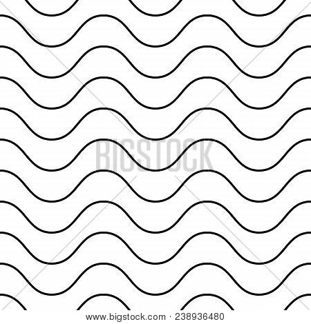 Horizontal Thin Wavy Lines Vector Seamless Pattern. Subtle Monochrome Background, Simple Black & Whi