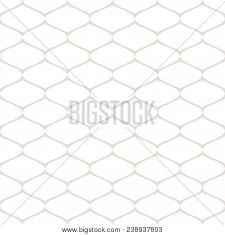 Subtle Seamless Pattern Of Mesh, Lattice, Grid, Fishnet, Tissue, Lace, Net, Wire. Vector Monochrome