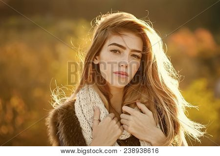 Fashion Model With Pretty Face. Beauty And Fashion. Girl On Autumn Natural Background. Season And Fa