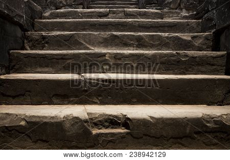 Old Stone Staircase. Ancient Temple Interior. Ancient Stone Stairs. Historic Site Concept Photo For