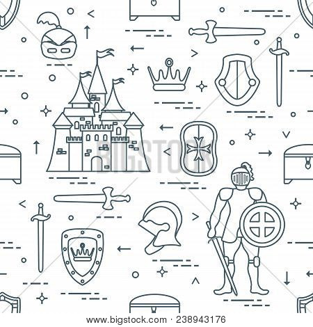 Seamless Pattern With Knight, Castle, Shields, Swords, Cuirass, Helmet, Crown, Treasure Chest. Desig