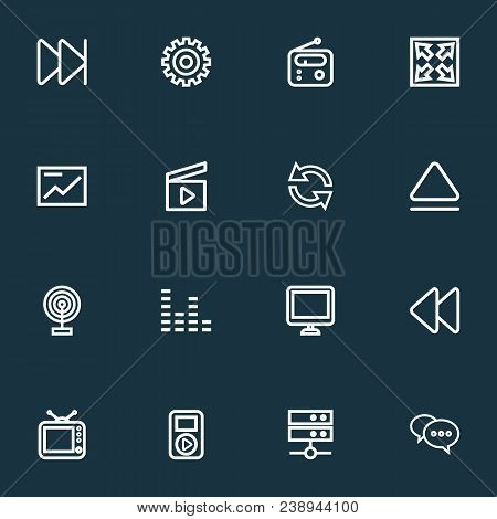 Media Icons Line Style Set With Broadcast, Comment, Audio And Other Chart Elements. Isolated Vector