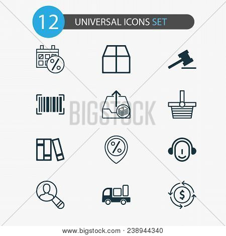 Commerce Icons Set With Auction, Sales Day, Currency Interchange And Other Bookshelf Elements. Isola