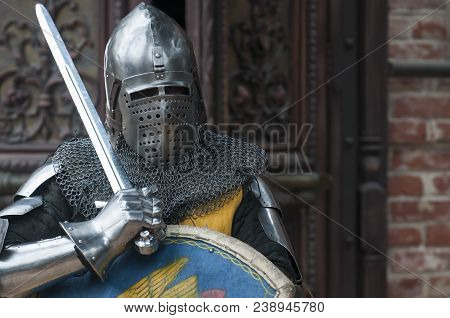 Knight In Metal Armor. Battle Between Two Knights