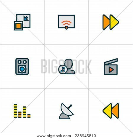 Multimedia Icons Colored Line Set With Audio Mixer, Fast Forward, Artist And Other Next Elements. Is