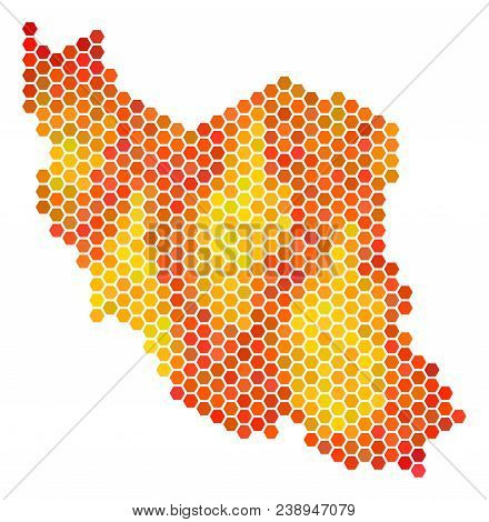 Iran Map. Vector Hexagon Territory Plan Drawn With Bright Orange Color Tinges. Abstract Iran Map Con