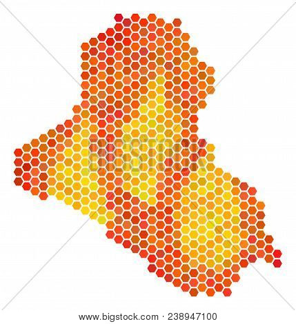 Iraq Map. Vector Hex-tile Territory Scheme Using Bright Orange Color Tones. Abstract Iraq Map Collag