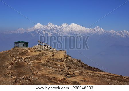 Ganesh Himal Mountain Range Seen From Laurebina, Nepal.