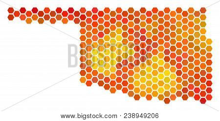 Oklahoma State Map. Vector Honeycomb Territory Map Drawn With Bright Orange Color Hues. Abstract Okl