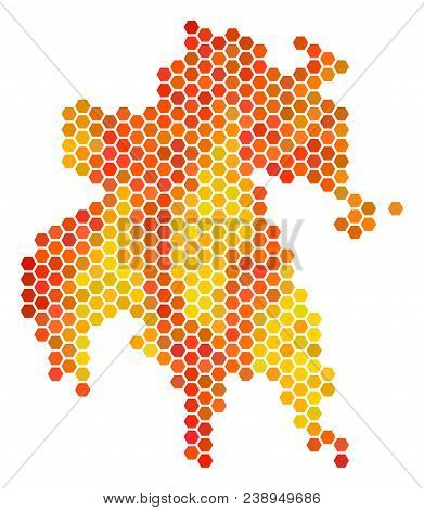 Peloponnese Half-island Map. Vector Hex-tile Territory Map Using Hot Color Tones. Abstract Peloponne