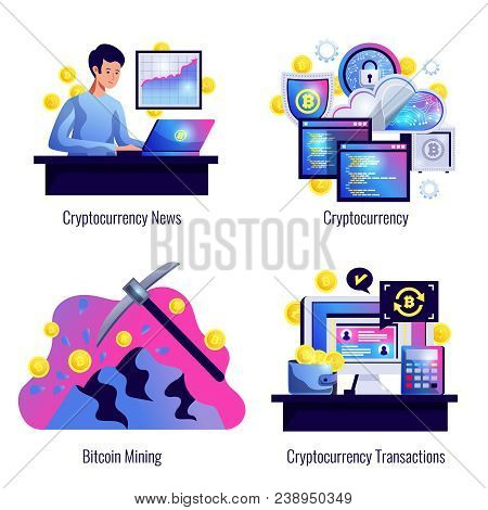 Cryptocurrency 2x2 Design Concept Set Of Bitcoin Mining Finance Market News And Cryptocurrency Trans