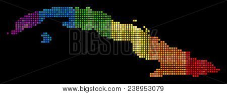 Dotted Pixel Lgbt Cuba Map For Lesbians, Gays, Bisexuals, And Transgenders. Vector Geographic Map In
