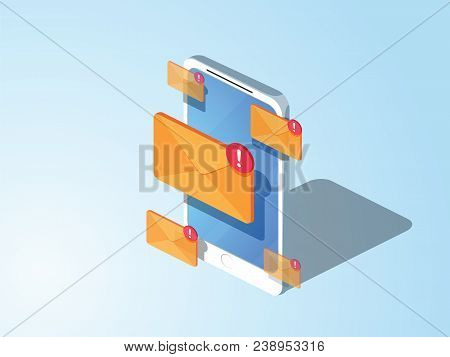 3d Style Design. Email Marketing Flat Vector Isometric Concept. Mobile Marketing With Email Subscrip
