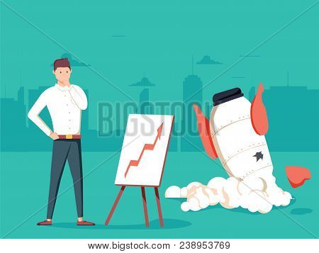 Businessman With Plan And Rocket Crashed. Business Failure, The Rocket Fall Down. Startup Rocket Cra