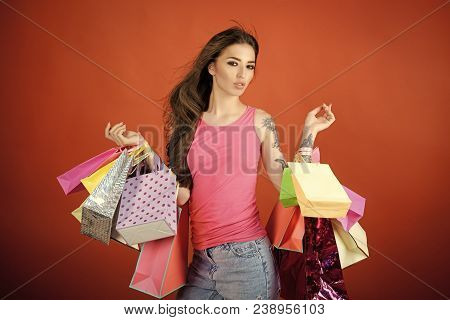 Woman Shopper With Shopping Bags, Purchase. Woman Shopaholic With Paper Bags, Sale. Present, Gift, H