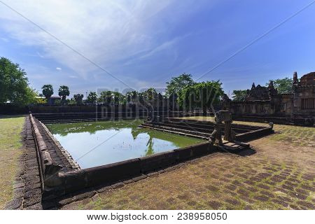 Beautiful Prasat Muang Tam ( Lowland Castle ) With Reflection , Buriram Province , Thailand