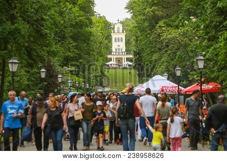 Zagreb, Croatia - 01 May, 2018: Large Group Of People Walking Down The Walking Path With Vidikovac K