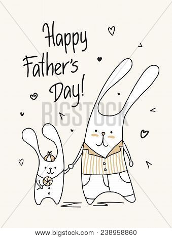 Father`s Day Card With Happy Cute Daddy And Son. Funny Animal Flat Cartoon Illustration