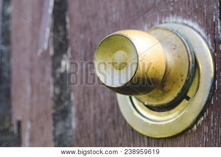 Beautiful Vintage And Old, Rustic Door Look, Cracked Brown Paint Wooden Door And Rusty Iron Lock And
