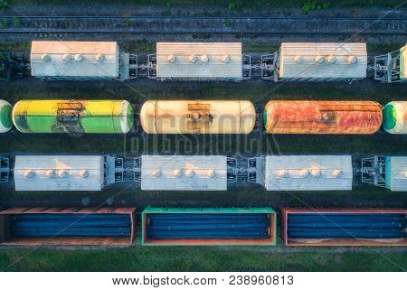 Aerial View Of Railway Wagons. Cargo Trains