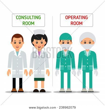 Doctors. Doctor Man And Woman In Uniform For Consalting Room And Operating Room. Cartoon Illustratio