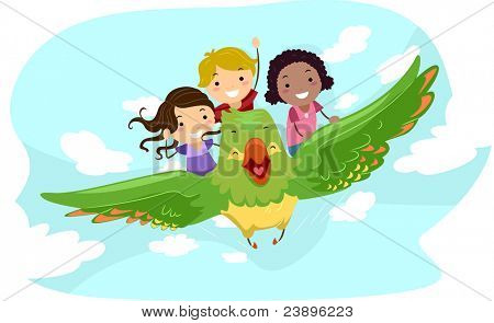 Illustration of Kids Riding a Giant Bird