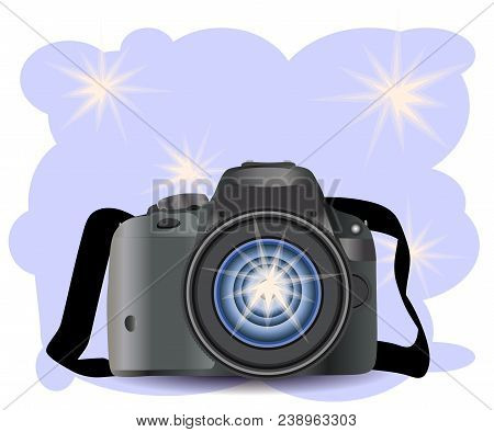 Realistic Modern Camera On A Blue Background With Flashes, Vector Photography, Digital Photo Camera