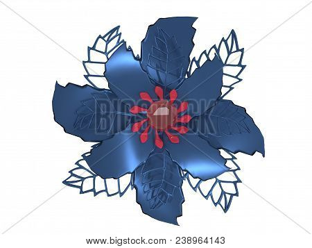 Blue Red Metal Flower Rendering Isolated On White Background (3d Illustration)