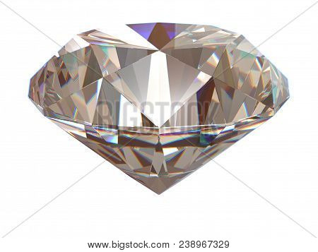 Diamond Side View Render Isolated On White Background (3d Illustration)