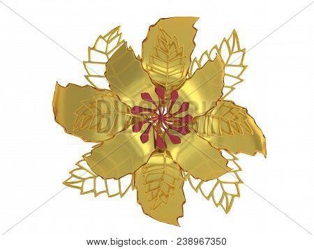 Gold Metal Flower Rendering Isolated On White Background (3d Illustration)