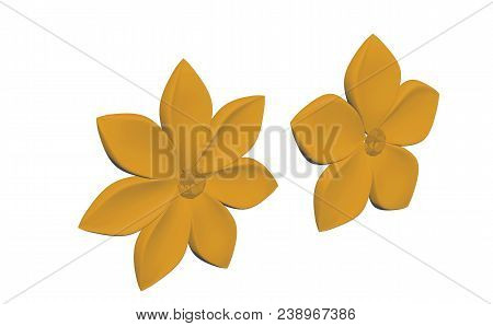Gold Metal Flowers (three Quarters View) Render Isolated On White Background (3d Illustration)