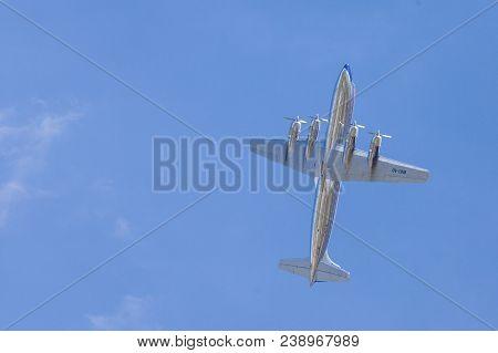 Berlin / Germany - April 28, 2018: Douglas Dc-6 From Flying Bulls Flies On Airport Berlin / Schoenef