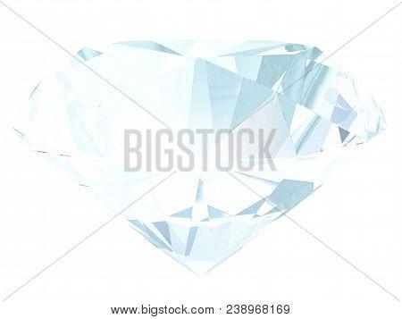 Aquamarine Side View Render Isolated On White Background (3d Illustration)