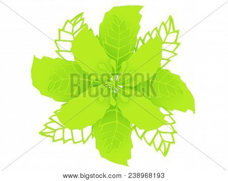 Lime Colored Material Flower Rendering Isolated On White Background (3d Illustration)