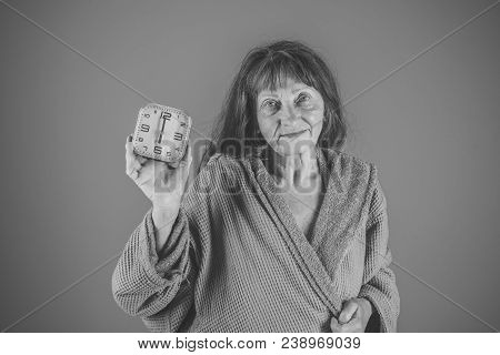 Woman With Long Hair Hold Alarm Clock. Time Management And Business Success. Old Lady With Red Clock