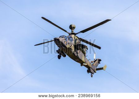 Berlin / Germany - April 28, 2018: Military Twin-engined Attack Helicopter Tiger, From Airbus Helico