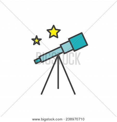 Space Travel Icon W Telescope - Tourism To Outer Space - Exploration Astrotourism