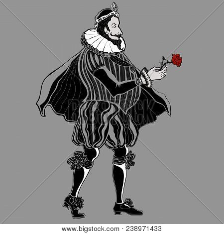 Vector Drawing Of An Aristocrat In A Historical Suit In Retro Style