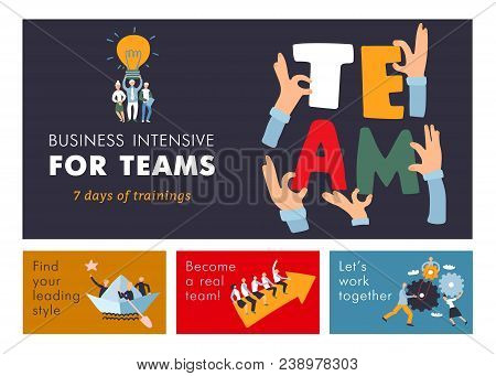 Teamwork Cooperation Management Training  For Business Efficiency And Success Advertisement Colorful